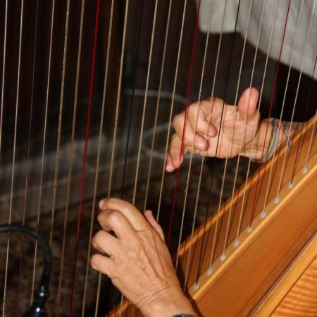 Les mains de la harpiste Claire Le Fur