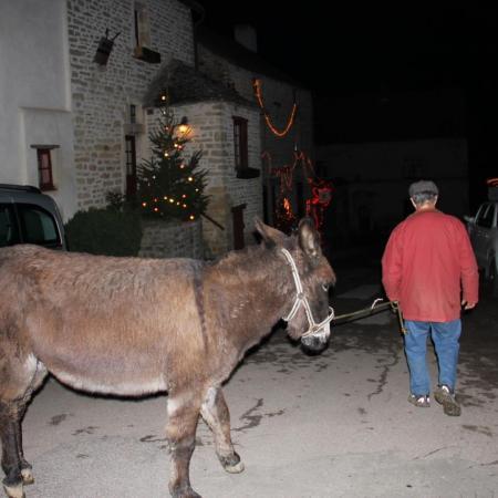 24 décembre 19h. César, l'âne, en route vers la crèche avec Bernard A.