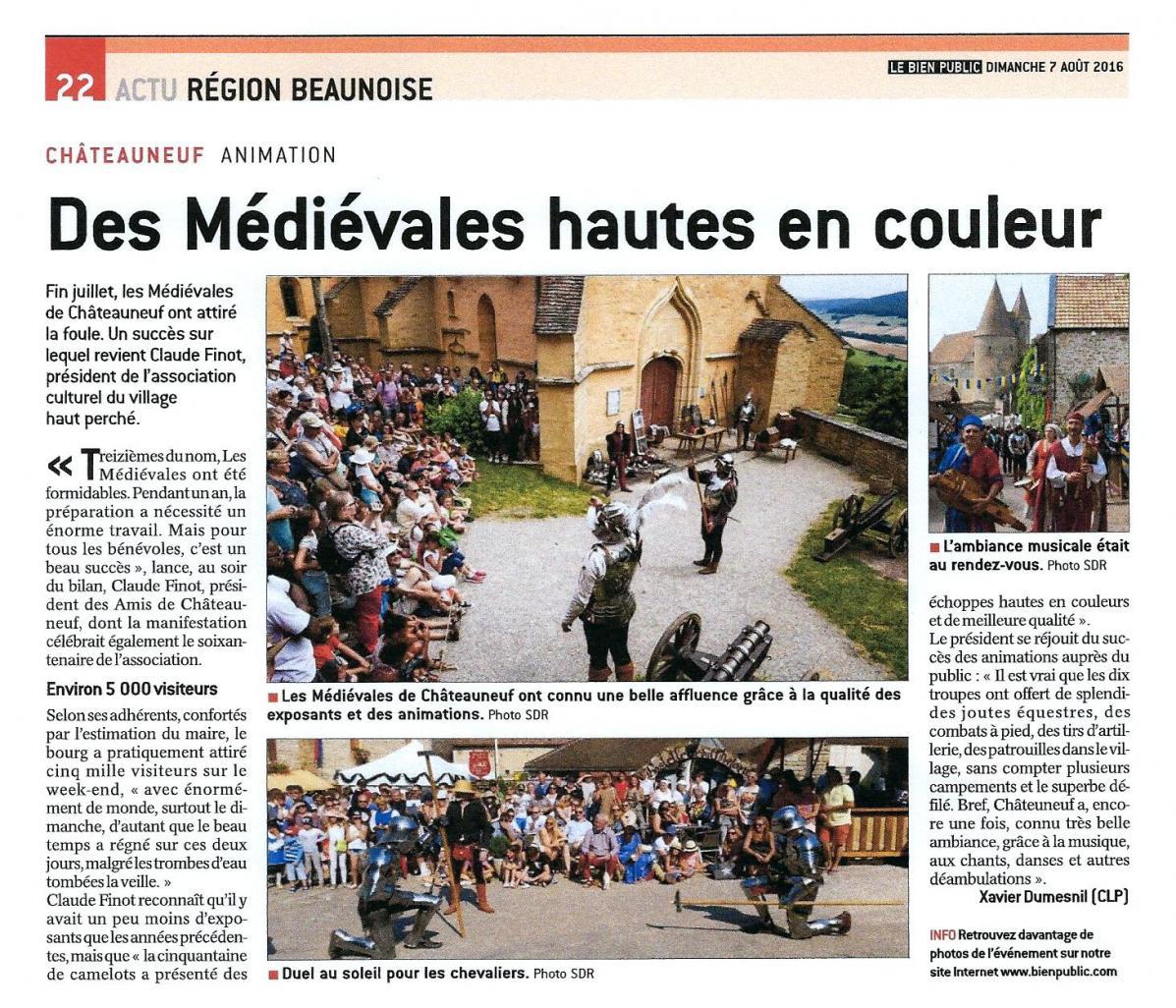 2016 08 07 le bien public edition de beaune medievales 2017
